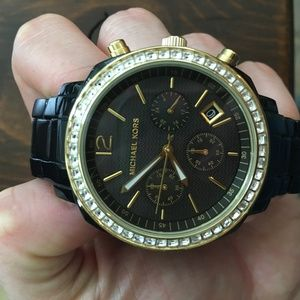 Michael Kors black chronograph watch w/ pearl face